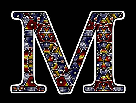 initial capital letter M with colorful dots. Abstract design inspired in mexican huichol beaded craft art style. Isolated on black background