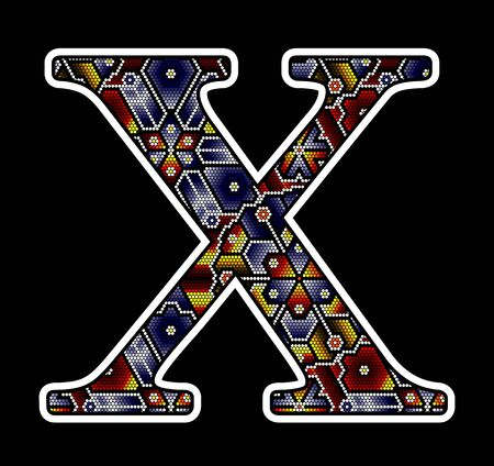 initial capital letter X with colorful dots. Abstract design inspired in mexican huichol beaded craft art style. Isolated on black background