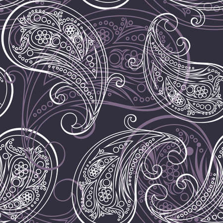 paisley seamless pattern illustration on black background. can be tiled