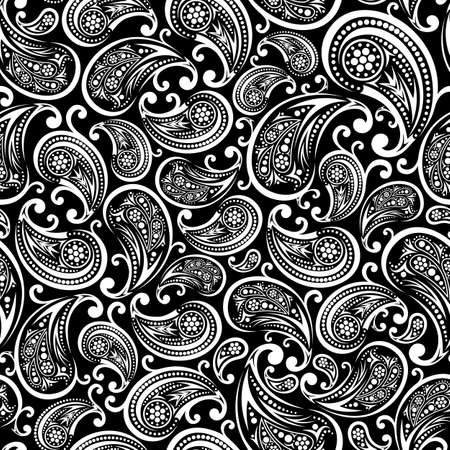 paisley seamless pattern illustration in black and white. Can be tiled 向量圖像