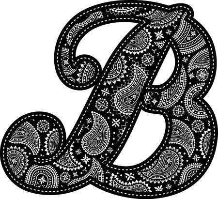 capital letter B with paisley pattern design. Embroidery style in black color. Isolated on white