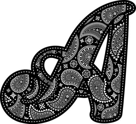 capital letter A with paisley pattern design. Embroidery style in black color. Isolated on white 向量圖像