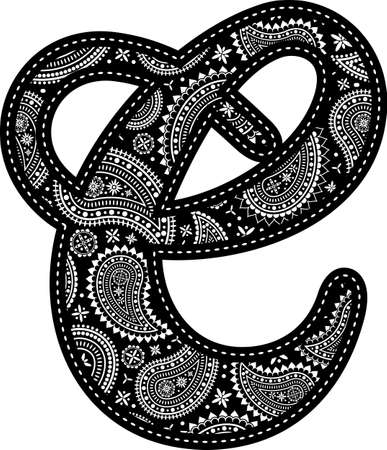 capital letter C with paisley pattern design. Embroidery style in black color. Isolated on white