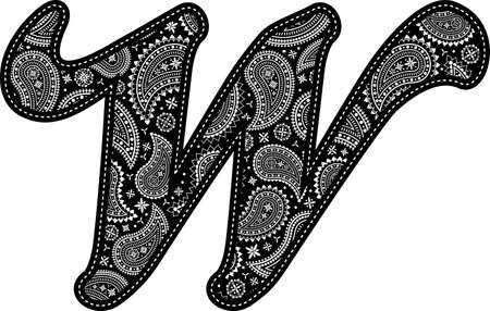 capital letter W with paisley pattern design. Embroidery style in black color. Isolated on white