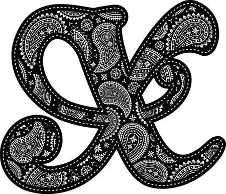 capital letter X with paisley pattern design. Embroidery style in black color. Isolated on white