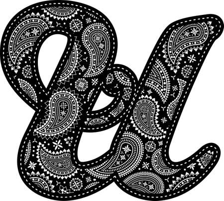 capital letter U with paisley pattern design. Embroidery style in black color. Isolated on white