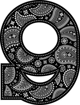 number 9 with paisley pattern design. Embroidery style in black color. Isolated on white 向量圖像