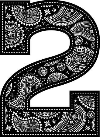 number 2 with paisley pattern design. Embroidery style in black color. Isolated on white