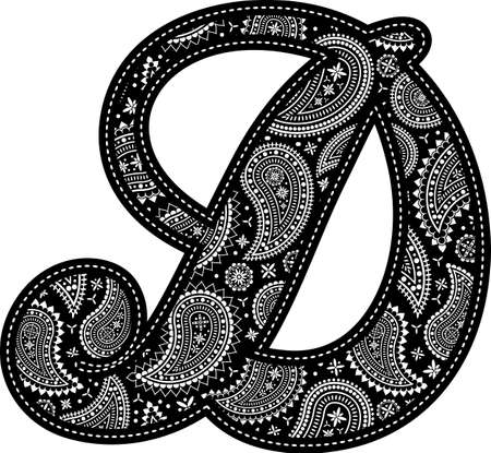 capital letter D with paisley pattern design. Embroidery style in black color. Isolated on white