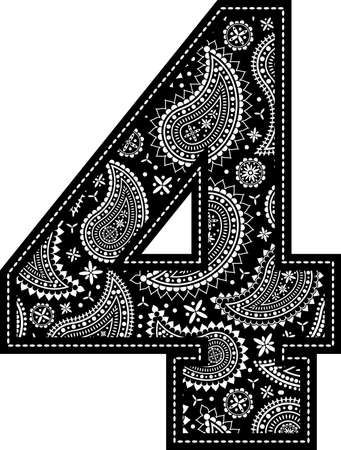 number 4 with paisley pattern design. Embroidery style in black color. Isolated on white 向量圖像
