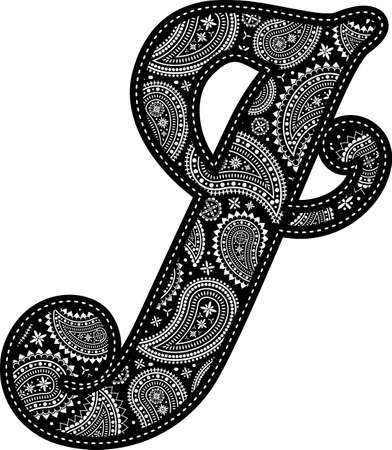 capital letter J with paisley pattern design. Embroidery style in black color. Isolated on white