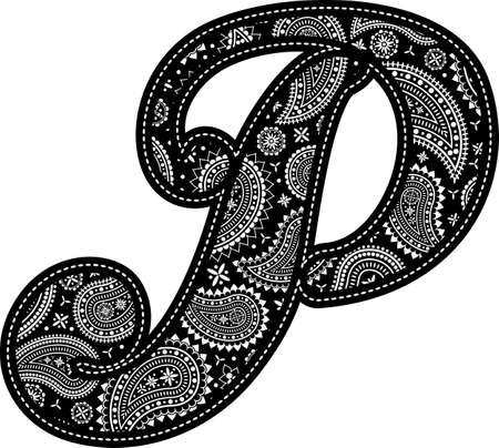 capital letter P with paisley pattern design. Embroidery style in black color. Isolated on white 向量圖像