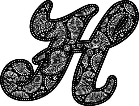 capital letter H with paisley pattern design. Embroidery style in black color. Isolated on white 向量圖像