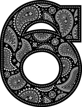 number 6 with paisley pattern design. Embroidery style in black color. Isolated on white