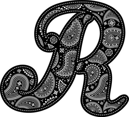 capital letter R with paisley pattern design. Embroidery style in black color. Isolated on white