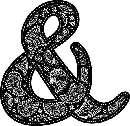 ampersand symbol with paisley pattern design. Embroidery style in black color. Isolated on white
