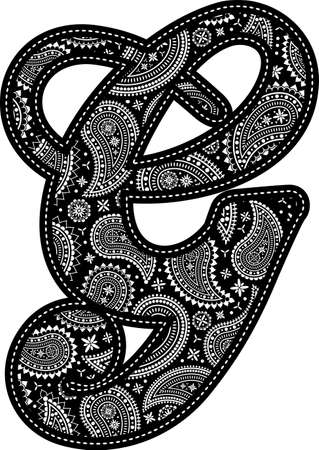 capital letter G with paisley pattern design. Embroidery style in black color. Isolated on white