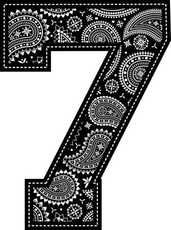 number 7 with paisley pattern design. Embroidery style in black color. Isolated on white