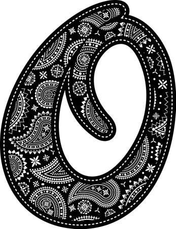 capital letter O with paisley pattern design. Embroidery style in black color. Isolated on white 向量圖像