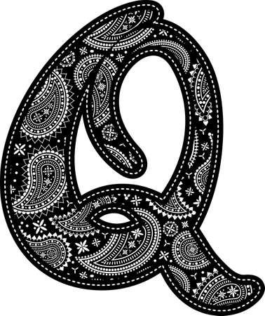 capital letter Q with paisley pattern design. Embroidery style in black color. Isolated on white