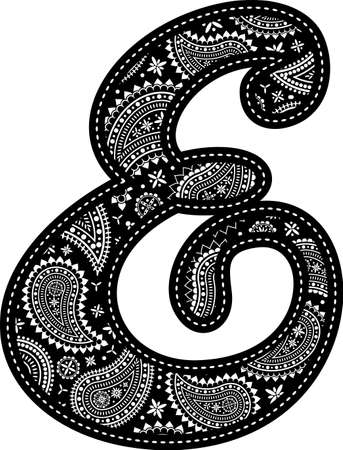 capital letter E with paisley pattern design. Embroidery style in black color. Isolated on white