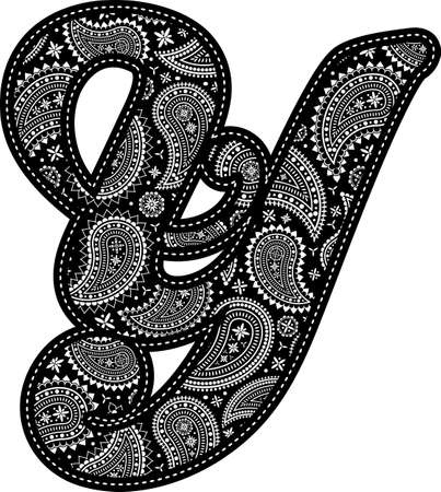 capital letter Y with paisley pattern design. Embroidery style in black color. Isolated on white