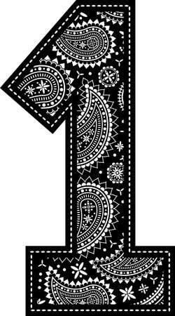 number 1 with paisley pattern design. Embroidery style in black color. Isolated on white