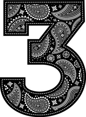 number 3 with paisley pattern design. Embroidery style in black color. Isolated on white