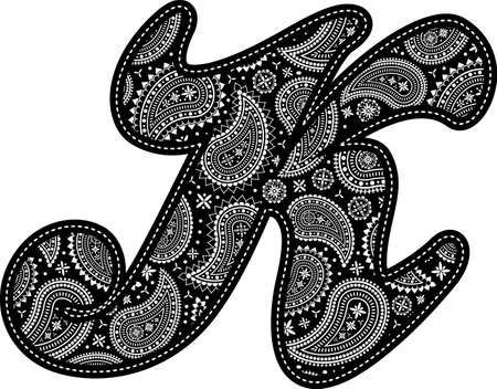 capital letter K with paisley pattern design. Embroidery style in black color. Isolated on white 向量圖像