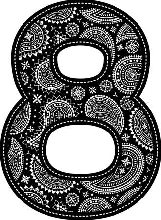 number 8 with paisley pattern design. Embroidery style in black color. Isolated on white 向量圖像