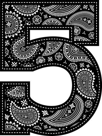 number 5 with paisley pattern design. Embroidery style in black color. Isolated on white