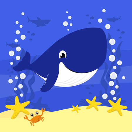 cute baby whale cartoon illustration with bubbles and under the sea background. Design for baby and child 向量圖像