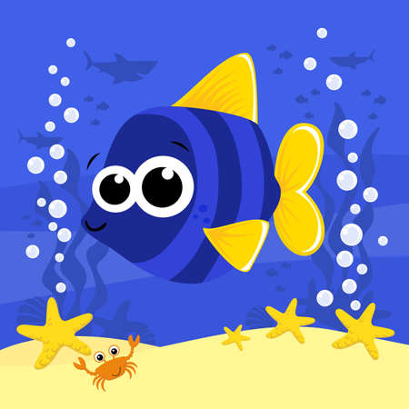 cute baby fish cartoon illustration with bubbles and under the sea background. Design for baby and child