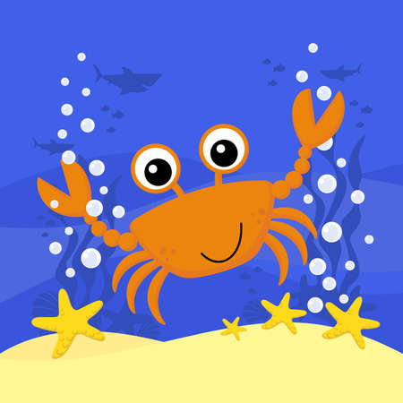 cute baby crab cartoon illustration with bubbles and under the sea background. Design for baby and child 向量圖像