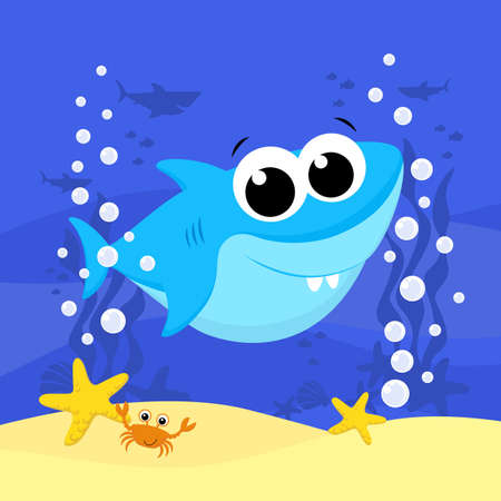cute baby shark cartoon illustration with bubbles and under the sea background. Design for baby and child