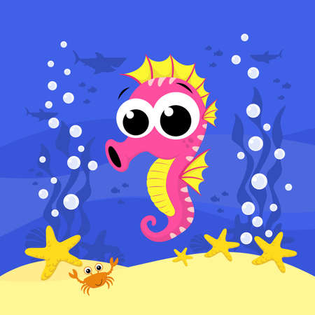 cute baby seahorse cartoon illustration with bubbles and under the sea background. Design for baby and child
