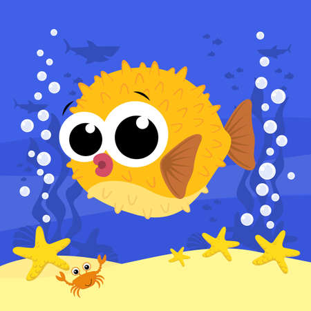 cute baby blowfish cartoon illustration with bubbles and under the sea background. Design for baby and child 向量圖像