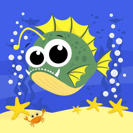 cute baby anglerfish cartoon illustration with bubbles and under the sea background. Design for baby and child 向量圖像