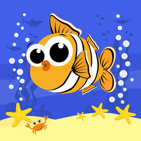 cute baby clownfish cartoon illustration with bubbles and under the sea background. Design for baby and child 向量圖像