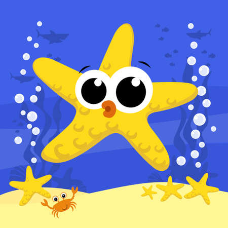 cute baby starfish cartoon illustration with bubbles and under the sea background. Design for baby and child