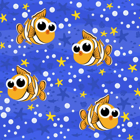 seamless pattern with cute baby clownfish cartoon illustration with bubbles and under the sea background. Design for baby and child. Can be tiled