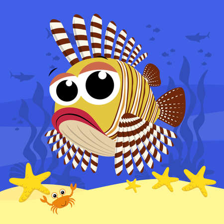 cute baby lionfish cartoon illustration, also know as pterois mombasae, firefish or frillfin turkeyfish. With bubbles and under the sea background. Design for baby and child