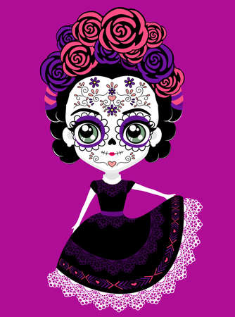 cute mexican catrina doll with traditional sugar skull make up for dia de muertos celebration. isolated on purple background