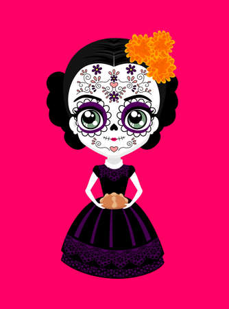 cute mexican catrina doll with traditional sugar skull make up for dia de muertos celebration and cempasuchil flowers (aztec marigold). holding a traditional pan de muerto (bread of the dead). isolated on pink background