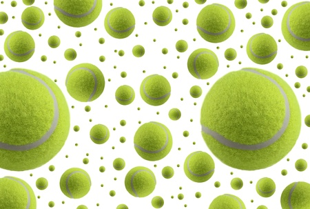 raquet: Tennis balls rain,  isolated on white background