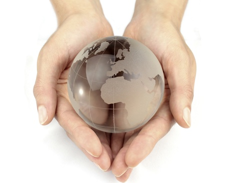 Globe in hands photo