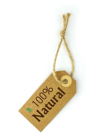 papier naturel: 100% naturel �tiquette Banque d'images