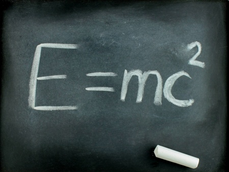 E=mc2, Albert Einsteins physical formula on blackboard photo