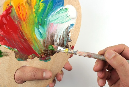 color mixing: Color mixing on palet