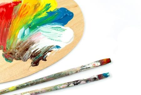 Colors,  paintbrush, pallet Stock Photo